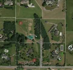 6299 Meridian Way aerial with 2 lots identified